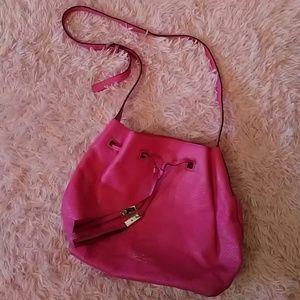 Pink Kate Spade bucket tassel drawstring crossbody
